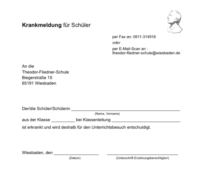 Krankmeldung-Theodor-Fliedner-Schule